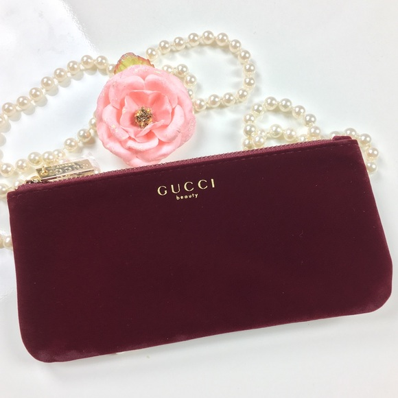 a30c8e27d075 Gucci Other - Gucci Beauty Velvet Burgundy Red Makeup bag